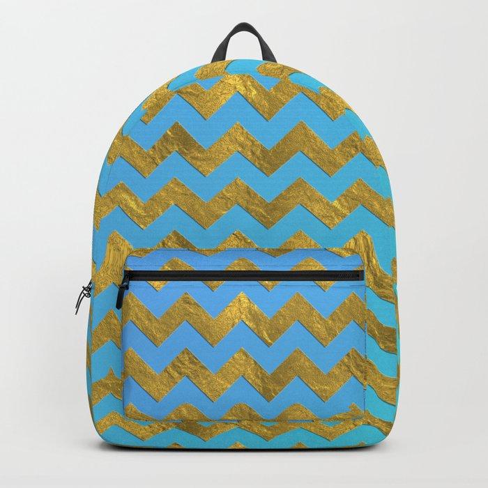 Gold glitter chevron on turquoise backround- pattern Backpack