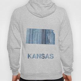 Kansas map outline Light steel blue nebulous watercolor paper Hoody