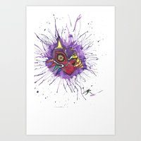 majoras mask Art Prints featuring The Darkness Of Majoras' Mask by Inbetweenlife