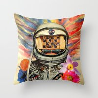 nasa Throw Pillows featuring NASA Messed Me Up by Collage Calamity
