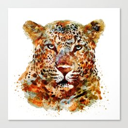 Leopard Head watercolor Canvas Print