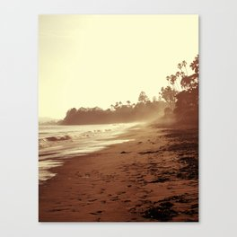 Vintage Retro Sepia Toned Coastal Beach Print Canvas Print