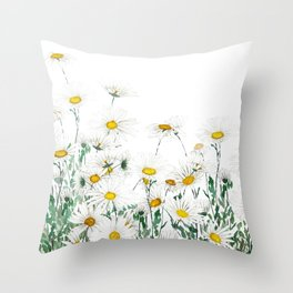 white margaret daisy horizontal watercolor painting Throw Pillow