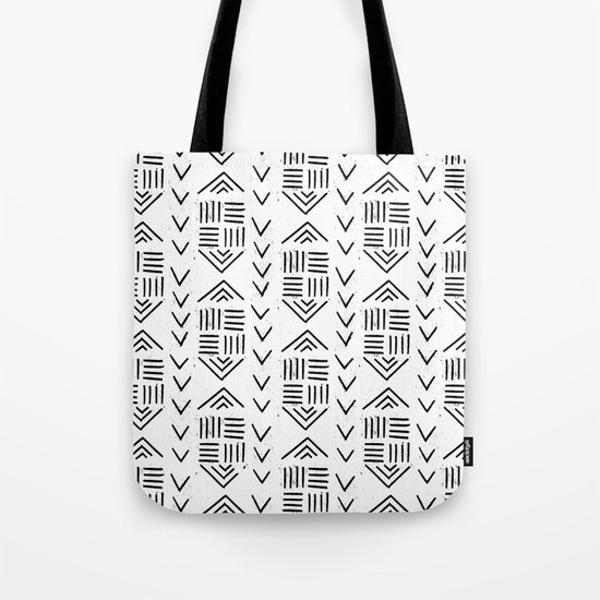 mudcloth 7 minimal textured black and white pattern home decor minimalist Tote Bag