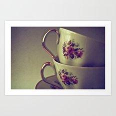 Granny's Tea Cups Art Print