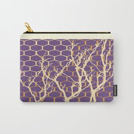 Puce Purple & Cream Trees Abstract SilouetDesign Carry-All Pouch