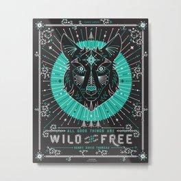 Wild & Free Wolf – Turquoise & Grey Metal Print