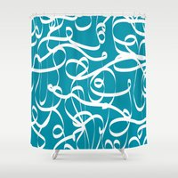 crossfit Shower Curtains featuring @NEW Modern Ribbon | Teal by Joel M Young