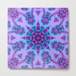 Kaleidoscope with patterns in blue and pink / purpel Metal Print