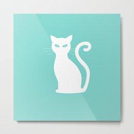 Large Cute White Cat on Aqua Blue Metal Print