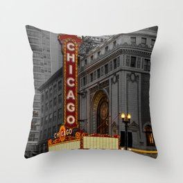 Chicago Theatre Sign Downtown State Street Historic Theater Marquee Throw Pillow