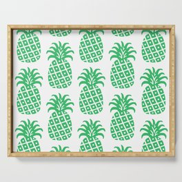 Retro Mid Century Modern Pineapple Pattern Green Serving Tray