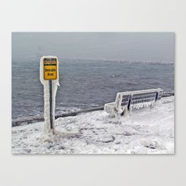 Blizzard at Spring Point Ledge Lighthouse, Maine (2) Canvas Print