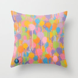 Floating In A Festival Of Candy Colored Balloons Or Swimming In A Sea Of Psychedelic Jellyfish Throw Pillow