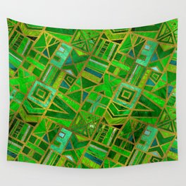 Geometric  Green and Gold African Tribal Pattern Wall Tapestry