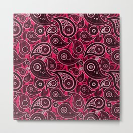 Ruby Red Paisley Pattern Metal Print