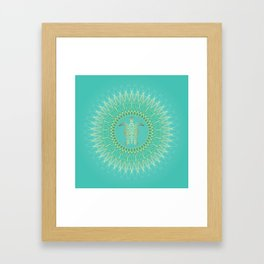 Turquoise Gold Mandala Turtle Framed Art Print