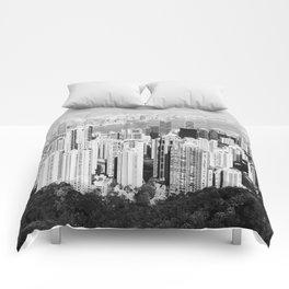 Hong Kong Cityscape // Sky Scraper Skyline Landscape Photography Black and White Buildings Comforters
