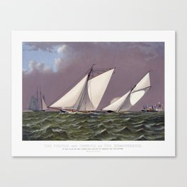 Race for America's Cup by the Puritan and Genesta - 1885 Canvas Print
