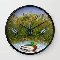 clueless Wall Clocks featuring Sitting Duck by Jay Montgomery