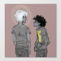 grantaire Canvas Prints featuring Enjolras and Grantaire by icarusdrunk