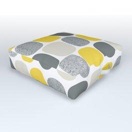 Wonky Ovals in Yellow Outdoor Floor Cushion