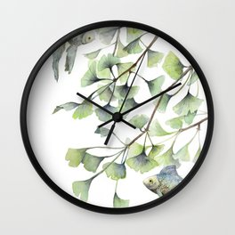 Mint Green Ginkgo Leaves and Green Goldfish Watercolor Design Wall Clock