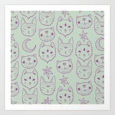 Mitty Mystics in Green Art Print