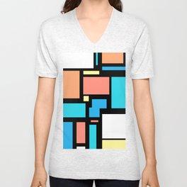 Modern Mondrian (black) Unisex V-Neck