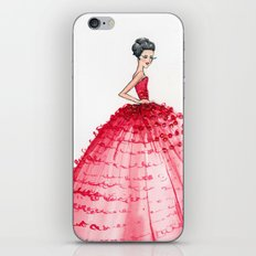 Red Couture Gown Watercolor Fashion Illustration iPhone & iPod Skin
