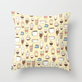 Cute Coffee Pattern on yellow Throw Pillow