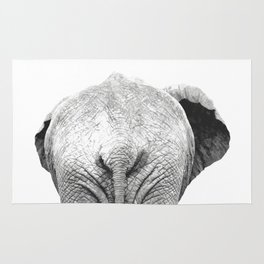 Black and white elephant animal jungle Rug