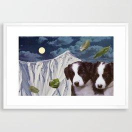 Basil Leaf Moon Dollar Night Framed Art Print