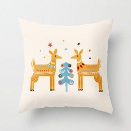 Festive deers -  retro illustration Throw Pillow