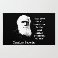 darwin Area & Throw Rugs featuring Darwin by PsychoBudgie