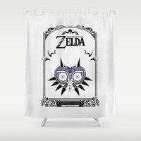 legend of zelda Shower Curtains featuring Zelda legend - Majora's mask by Art & Be