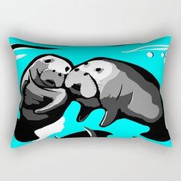 Manatee Love in blue Rectangular Pillow