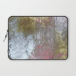 Golden Girl: a pretty abstract mixed media piece in pink, white, gold, and gray Laptop Sleeve