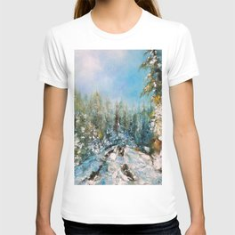 In the silence of winter trails, oil painting landscape T-shirt