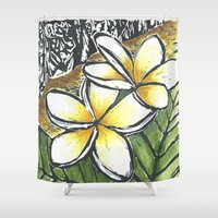 puerto rico Shower Curtains featuring Frangipani Freedom, Puerto Rico (Plumeria alba)   by Cheralyn Darcey