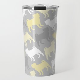 Grey and Yellow Pugs Pattern Travel Mug