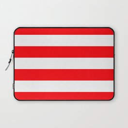 Christmas Red and White Cabana Stripes Laptop Sleeve