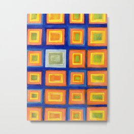 Square Pattern Beaming with Luminous Color Metal Print