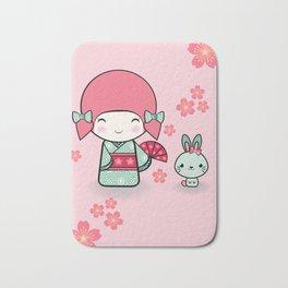 Kokeshi doll - Keiko e Usagi Bath Mat