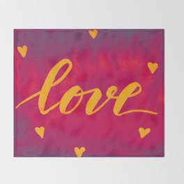 Valentine's Day Watercolor Love – magenta and yellow Throw Blanket