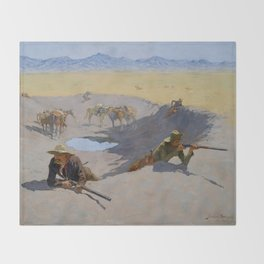 """Frederic Remington Western Art """"Fighting for the Waterhole"""" Throw Blanket"""