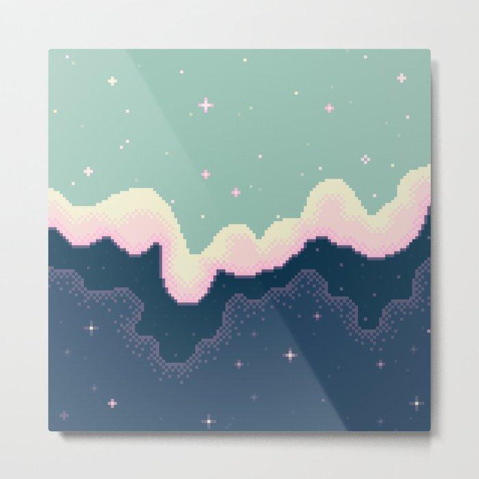 Pixel Day and Night Galaxy Metal Print