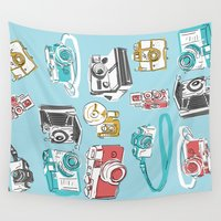 cameras Wall Tapestries featuring vintage retro hand drawn cameras blue by studiomarshallarts