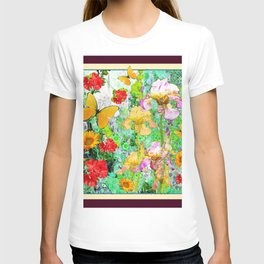 YELLOW IRIS BUTTERFLY SPRING GARDEN BURGUNDY TRIM T-shirt
