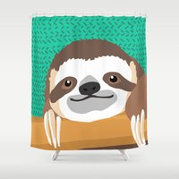 brad pitt Shower Curtains featuring Brad Sloth by AEle